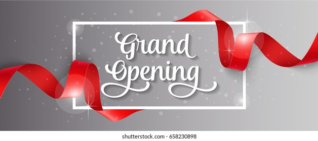 Grand Opening Lettering, Frame and Ribbon