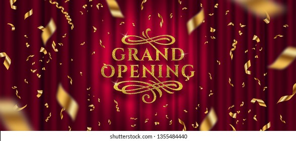Grand opening logo. Golden foil confetti and glitter gold logo with flourishes ornamental elements on a red curtain background. Vector illustration.