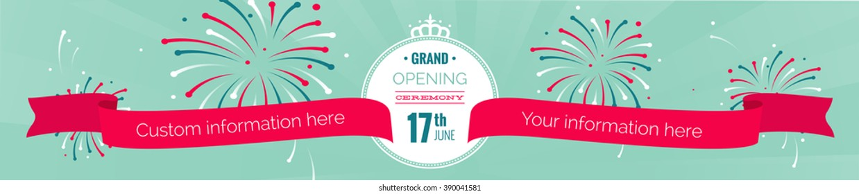 Grand opening long horizontal banner. Text with  fireworks and ribbons. Flat style. Vector Illustration