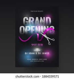 Grand Opening Party Flyer Design With Silver Scissors Cutting Ribbon On Black Background.