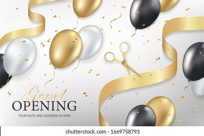 Grand opening party invitation banner, poster, flyer with golden sparkles confetti, ribbon, scissors, gold, silver and black balloons on white background. Realistic 3d style. Vector illustration