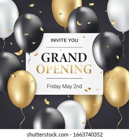 Grand opening party invitation card, poster, flyer with golden sparkles confetti, gold, silver and black balloons on dark background. Realistic 3d style. Vector illustration