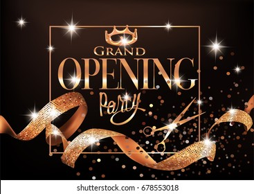 Grand opening party invitation card with gold curly ribbons, frame, crown and scissors. Vector illustration