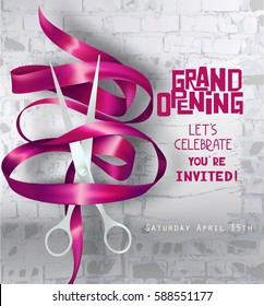 Grand opening Party invitation with curly ribbon, scissors and brick wall on the background. Vector illustration