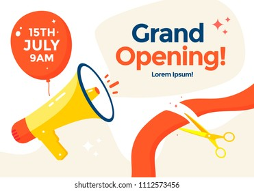 Grand opening poster or banner template with balloon and megaphone. Scissors cutting red ribbon. Vector flat illustration