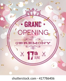 Grand opening poster with confetti and blurred bokeh background. Vector illustration