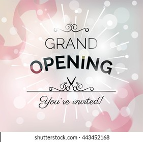 Grand opening poster with confetti, curving ribbons and blurred bokeh background. Vector illustration