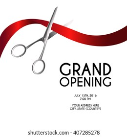 Grand opening poster mock-up with silver scissors cutting red ribbon isolated on white background, design announcement template. Editable and movable objects. EPS 10.