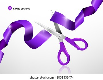 Grand opening with purple ribbon and scissors