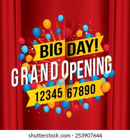 Grand opening with red curtain background. Vector illustration