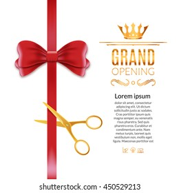Grand Opening red ribbon and bow. Open ceremony scissor ribbon cut white background isolated