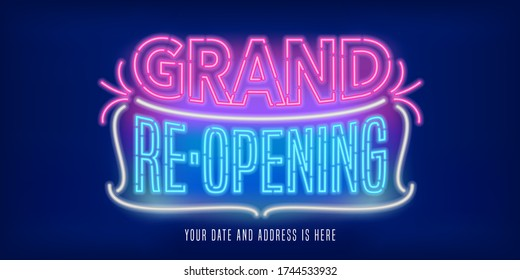 Grand opening or reopening vector banner, poster, illustration. Unusual design element with retro, 60s neon sign for opening or re-opening ceremony