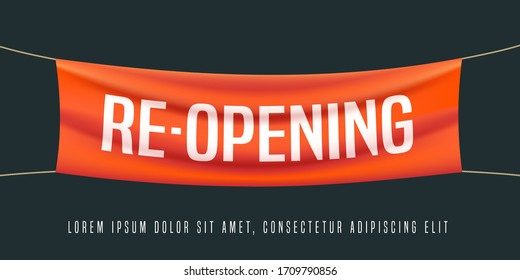 Grand opening or re-opening vector illustration, background for new store, etc. Template banner, design element for opening or reopening event