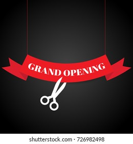 Grand opening with ribbon banner and scissors. vector