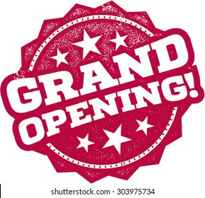 Grand Opening Rubber Stamp Sign