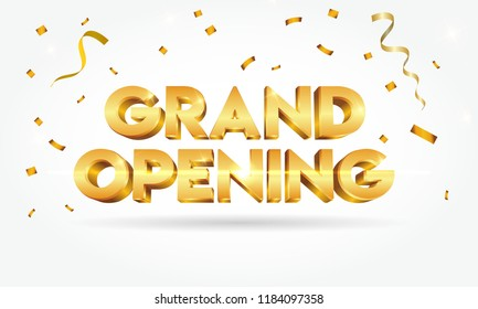 Grand opening shinny golden text with confetti isolated on white background