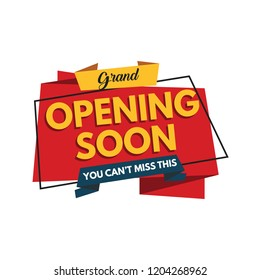 Grand opening soon banner isolated on white background