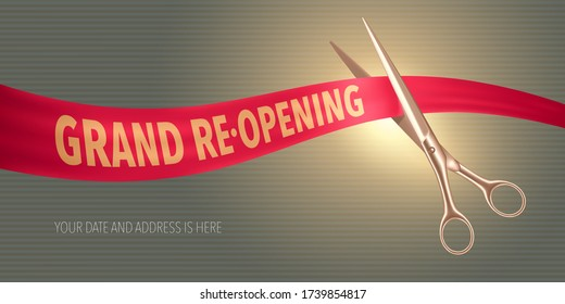 Grand opening or re opening soon vector banner, illustration. Nonstandard design element for scissors and red ribbon cutting for opening or re-opening ceremony