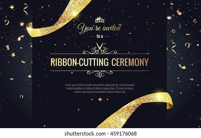Grand opening sparkling banner. Text composition with  golden splashes  and ribbons.Gold sparkles.  Elegant style. Vector Illustration