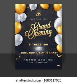 Grand Opening Template Or Flyer Design Decorated With Glossy Balloons On Black Background.