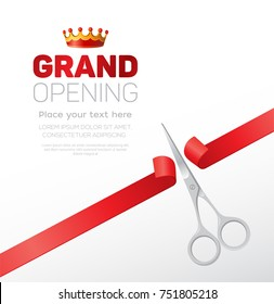 Grand opening template - modern vector illustration with place for your text. Silver scissors cutting the red ribbon. Headline with a crown. Perfect as a certificate, poster, banner, card, invitation