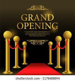 grand opening template with red carpet for business or poster announcement