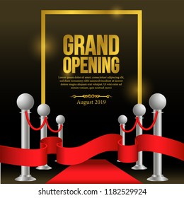 grand opening template with red carpet and red ribbon banner and vintage decoration