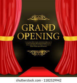 grand opening template with red carpet and red curtain