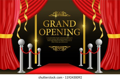 grand opening template with red curtain and carpet and golden swirl ribbon and vintage accessories for business, marketing, promotion with flyer, poster, label, leaflet on social media, or printing