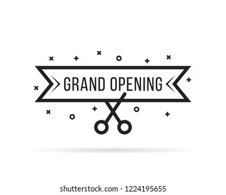 grand opening with thin line scissors. flat lineart stroke ad celebrate logotype and template graphic art isolated on white background. concept of invite or donation for client of restaurant or cafe