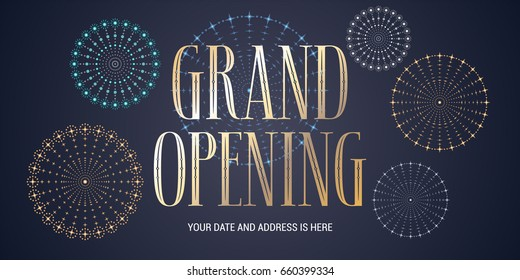 Grand opening vector background. Fireworks display design element for poster or banner for opening ceremony