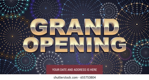 Grand opening vector background. Golden sign and fireworks display design element for poster or banner for opening event
