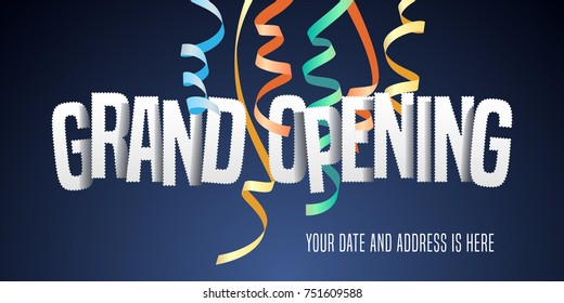 Grand opening vector background with paper letters. Red ribbon cutting ceremony  design element as poster or advertising for opening  event