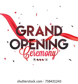 Grand opening vector background with red ribbon.