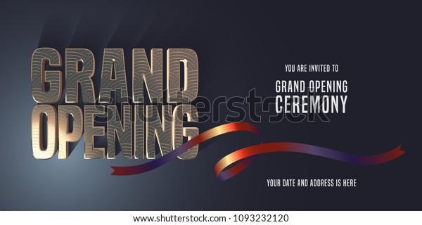 Grand Opening Vector Banner Illustration Invitation Stock