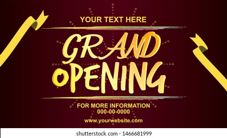 Grand opening vector banner template. Banner or backdrop for opening ceremony. Grand opening vector banner, poster, illustration. Light board sticker print. Decoration for opening ceremony.