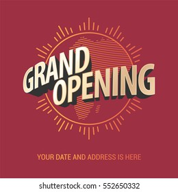 Grand opening vector banner. Template festive design element for opening ceremony can be used as background or poster