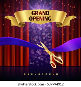 Grand opening vector concept with red curtains