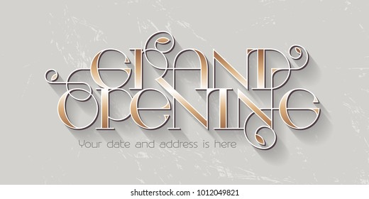 Grand opening vector illustration, background for new store with elegant lettering. Template banner, design element for opening event, red ribbon cutting ceremony