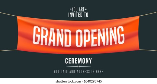 Grand opening vector illustration, background, invitation card.  Template banner, invite for red ribbon cutting ceremony