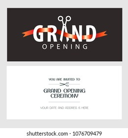 Grand opening vector illustration, background, invitation card. Template invite with scissors to red ribbon cutting ceremony with body copy