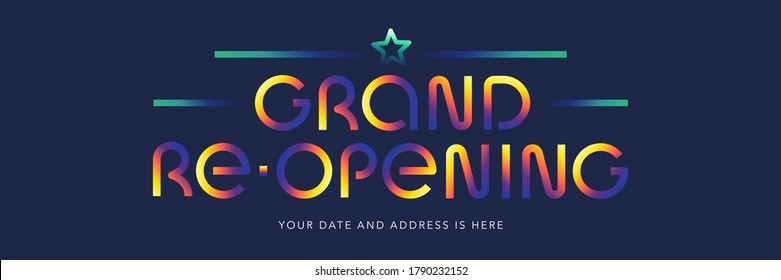 Grand opening or re opening vector illustration, background. Modern design with neon font for announcement or banner for  opening or re-opening ceremony