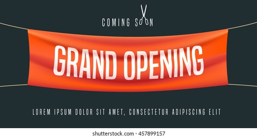 Grand opening vector illustration, background for new store, club, etc. Template banner, flyer, design element, decoration for opening ceremony