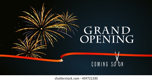 Grand opening vector illustration, background with firework and scissors cutting red ribbon. Template banner, flyer, design element, decoration for opening event