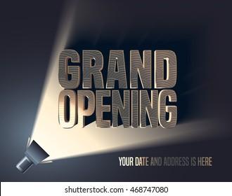 Grand opening vector illustration, background with flashlight and golden elegant lettering sign. Template banner, flyer, design element, decoration for opening event
