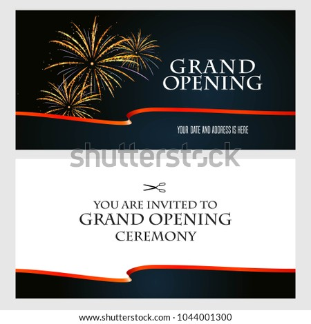 grand opening vector illustration background invitation card template invite to red ribbon cutting