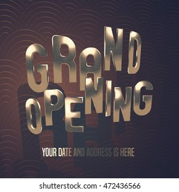 Grand opening vector illustration, banner, background for store, shop, club opening ceremony or grand sale. Design element with elegant golden font
