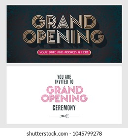 Grand opening vector illustration, invitation card for new store, etc with vintage style sign. Template banner, invite design for opening event, red ribbon cutting ceremony