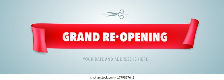 Grand opening or re opening vector illustration with wavy ribbon. Template design element for opening or re-opening ceremony can be used as banner