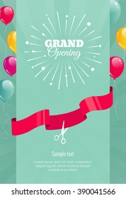 Grand opening vertical banner. Text with  firework, balloons and ribbons. Flat style. Vector Illustration